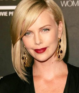 Charlize theron uses a deep red to make her lips the focal point