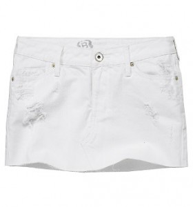 Bullhead White Destroyed Denim Skirt ($19.99, Pacific Sunwear)