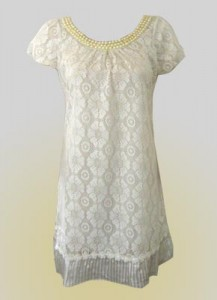 Qian Pearl Strands Classic White Lace Mini Dress ($36, www.angiehearts.net)