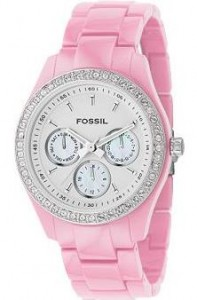 Pink Multifunction White Dial Watch ($95, Fossil)