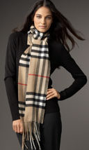 Burberry Skinny Giant Check Cashmere Scarf, Camel ($195, Neiman Marcus)