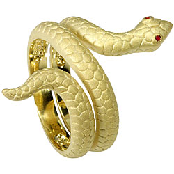 Frosted Goldtone CZ Red-eyed Snake Ring
