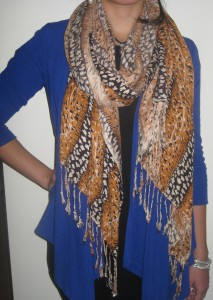 Blue cardigan and safari print scarf, Writer's Own