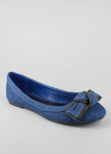 Zipper Bow Front Denim Flat ($12, www.gojane.com)