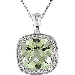 10k Gold Green Amethyst and 1/10ct TDW Diamond Necklace ($153.99, www.overstock.com)