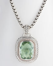 David Yurman 20x15mm Prasiolite Wheaton Enhancer ($1650, Neiman Marcus)