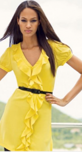 INC International Concepts Dress, Belted Short Sleeve Silk Ruffle ($64.99, Macy's)